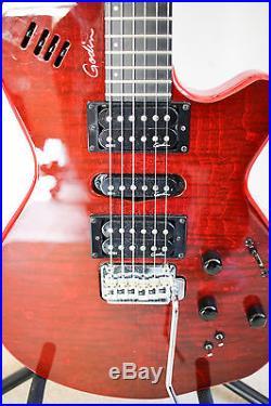 Godin xtSA Electric Guitar leaftop oak trans red used but better than new