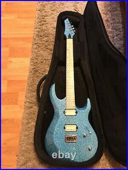 Kiesel Aries Aqua Blue Sparkle Reverse Headstock Guitar WithBag