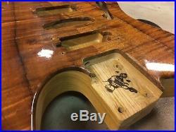 Warmoth Thinline Flame Koa Ash Telecaster Guitar Body Mini Humbucker